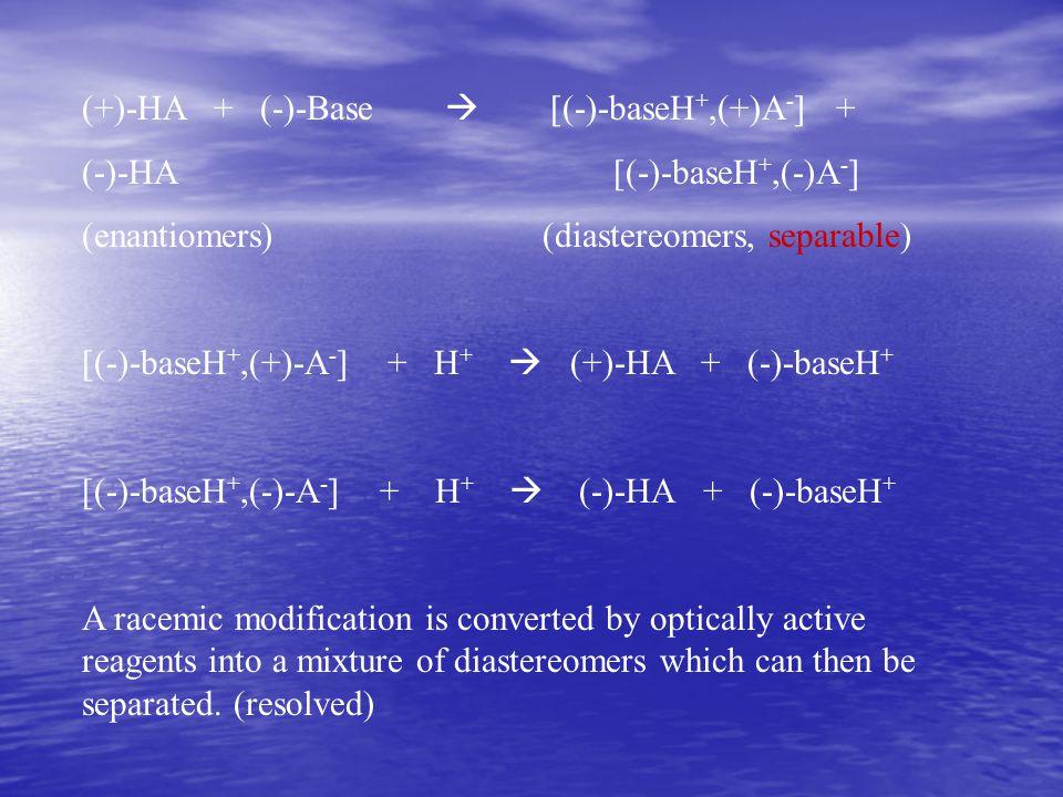 (+)-HA + (-)-Base  [(-)-baseH+,(+)A-] +